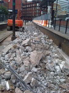 Existing concrete broken out of Shudehill Station